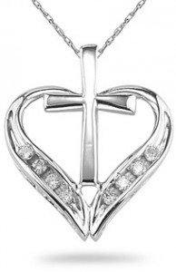 love heart cross pendant