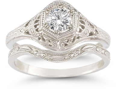 antique diamond wedding ring set