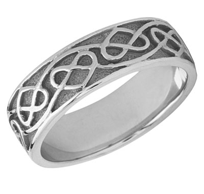 silver celtic heart knot wedding band ring